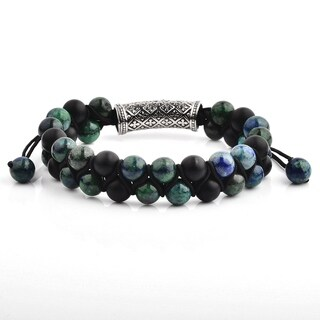 Azurite Chrysocolla and Matte Black Onyx Stainless Steel Double Layered Stone Adjustable Bracelet (15mm Wide)