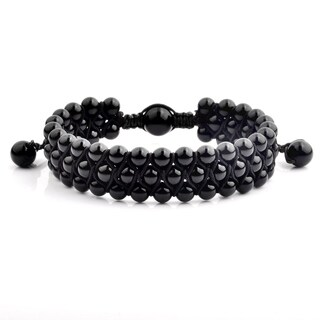 Onyx Stone Beaded Triple Row Adjustable Bracelet (16.5mm Wide)