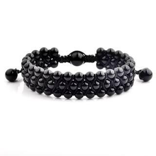Onyx Stone Beaded Triple Row Adjustable Bracelet (16.5mm Wide)