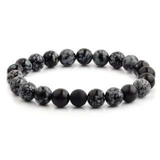Polished Snowflake Agate and Matte Onyx Beaded Stretch Bracelet (10.5mm Wide)