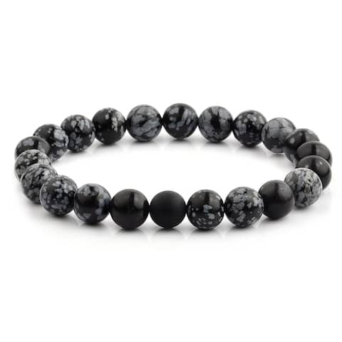 Snowflake Agate and Matte Onyx Beaded Stretch Bracelet (10mm Wide)
