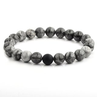Polished Jasper and Matte Onyx Beaded Stretch Bracelet (10.5mm Wide)