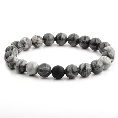 Polished Jasper and Matte Onyx Beaded Stretch Bracelet (10mm Wide)