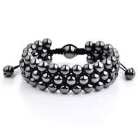 Polished Hematite Stone Beaded Adjustable Bracelet (23mm Wide)