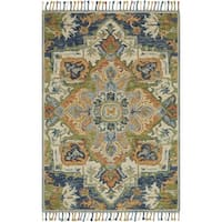 Hand-hooked Sonnet Blue/ Multi Rug - 7'9 x 9'9
