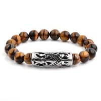 Antiqued Stainless Steel Fleur de Lis Curved Tube Tiger's Eye Stone Beaded Stretch Bracelet (14mm Wide)