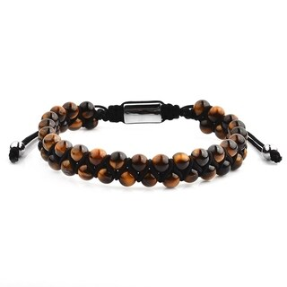 Stainless Steel Tiger's Eye Stone Adjustable Bracelet (12mm Wide)