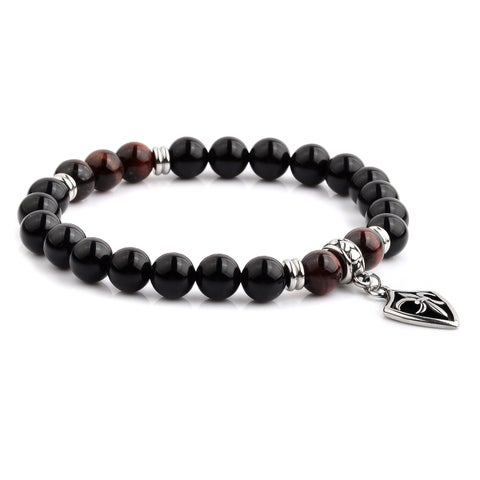 Onyx and Red Tiger's Eye Beaded Stretch Bracelet (8mm Wide)