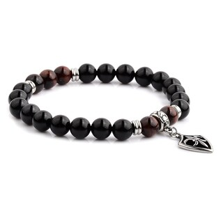 Stainless Steel Fleur de Lis Charm with Onyx and Red Tiger's Eye Beaded Stretch Bracelet (8.5mm Wide) - 8 Inches