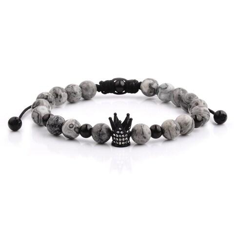 Black Plated Stainless Steel Crown Jasper Stone Adjustable Bracelet