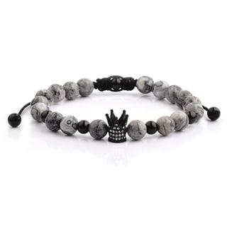 Black IP Stainless Steel Crown Charm Grey Jasper Stone Beaded Adjustable Bracelet (8mm Wide)