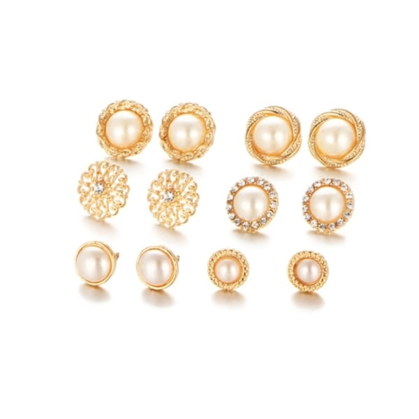 Vintage Gold Faux Pearl 6 Pairs Crystal Stud Earring Set