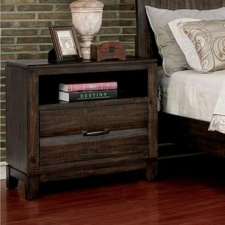 Furniture of America Ligg Transitional Walnut Solid Wood Nightstand