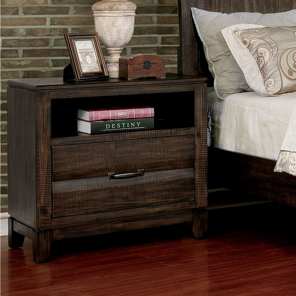 Furniture of America Ligg Transitional Walnut Solid Wood Nightstand