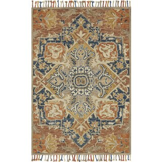 """Hand-hooked Sonnet Rust/ Blue Rug - 7'9"""" x 9'9"""""""