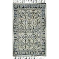 Hand-hooked Sonnet Mist/ Blue Rug (5' x 7'6)