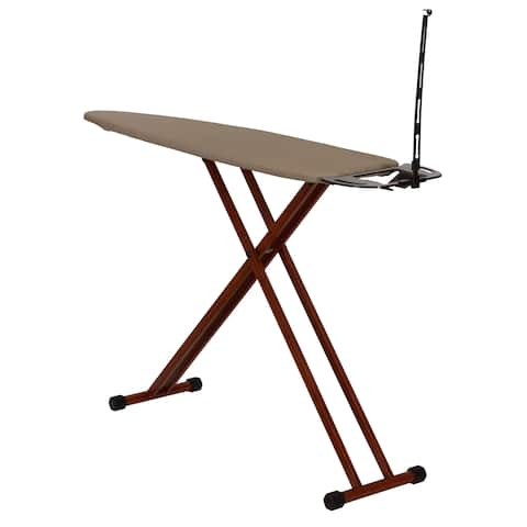 Household Essentials Bamboo Leg Ironing Board with Iron Rest