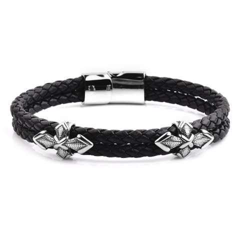 Antiqued Stainless Steel Black Braided Leather Bracelet (13mm Wide)