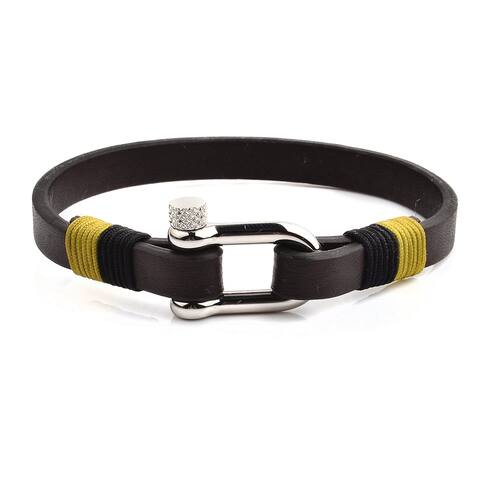 Brown Leather Stainless Steel Screw Clasp Bracelet (8mm Wide)
