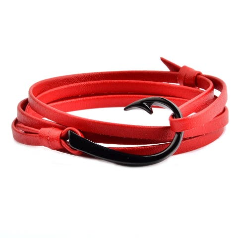 Black Plated Stainless Steel Leather Wrap Bracelet (4mm Wide)