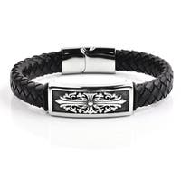 Antiqued Stainless Steel Cross ID Black Braided Leather Bracelet (15.7mm Wide) - 8.5 Inches