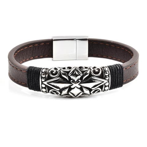 Antiqued Stainless Steel Cross ID Brown Leather Bracelet (17mm Wide)
