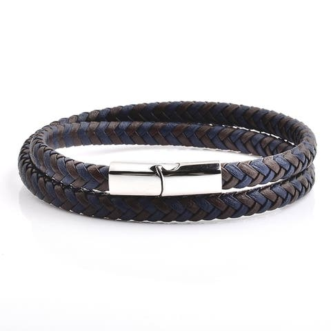 Crucible Blue and Brown Braided Leather Wrap Bracelet (13mm Wide)