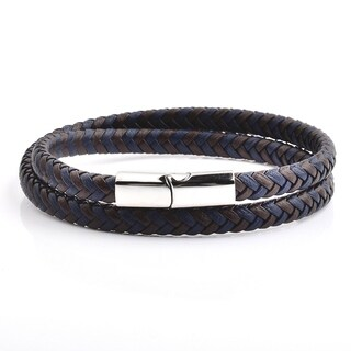 Blue and Brown Braided Leather Wrap Bracelet (13.4mm Wide)