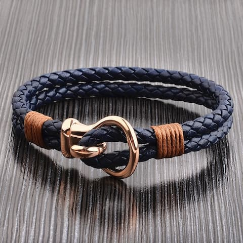 Crucible Stainless Steel Hook Clasp Leather Bracelet (10mm Wide)