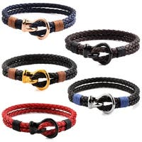 Stainless Steel Hook Clasp Leather Bracelet (10mm Wide)