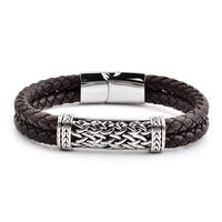 Antiqued Stainless Steel ID Braided Leather Bracelet (10mm Wide) - 8.5 Inches