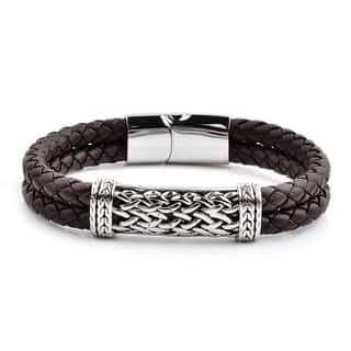 Antiqued Stainless Steel ID Braided Leather Bracelet (10mm Wide)