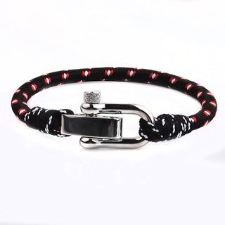 Polished Stainless Steel Screw Clasp Rope Bracelet (4.8mm Wide) - 8.5 Inches