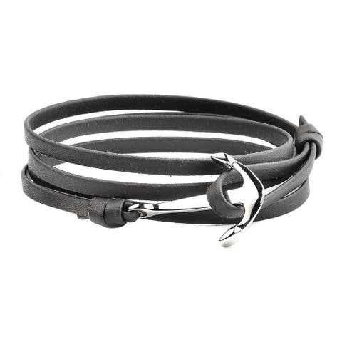 Stainless Steel Anchor Clasp Leather Wrap Bracelet (4.5mm Wide)
