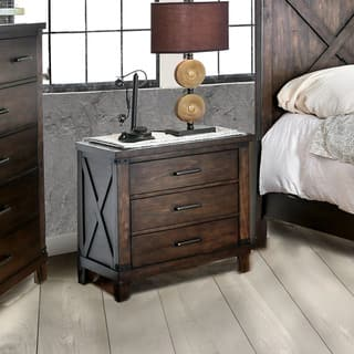 Furniture Of America Hilande Rustic Dark Walnut 3 Drawer Nightstand