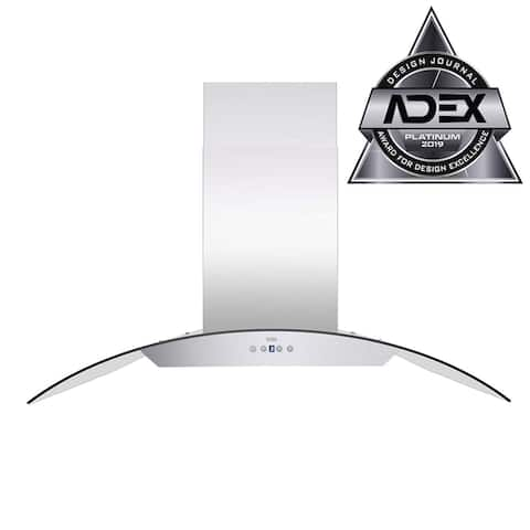 KOBE ISX24 SQB-2 Brillia 30, 36, or 42-inch Island Range Hood, 6-Speed, 600 CFM, Fits Ceiling Height 7.5'-9.5'