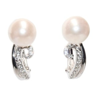 Kabella Sterling Silver Freshwater Pearl and CZ Swirl Earring - White