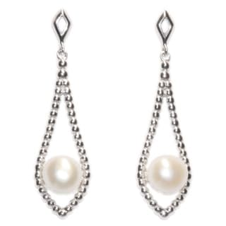 Kabella Beaded Sterling Silver Floatiing Freshwater Pearl Earring - White