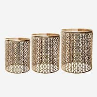 Jeco Norma Goldttone Iron 3-piece End Table Set