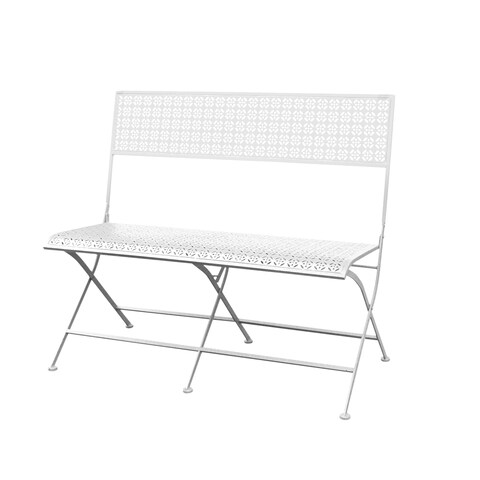 Jeco Qeshaun White Iron 40-inch Park Bench
