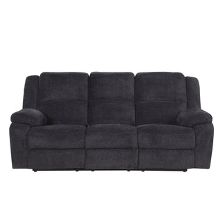 Classic Microfiber Sofa Couch with Ultra Comfortable Overstuffed Cushions, Double Recliner