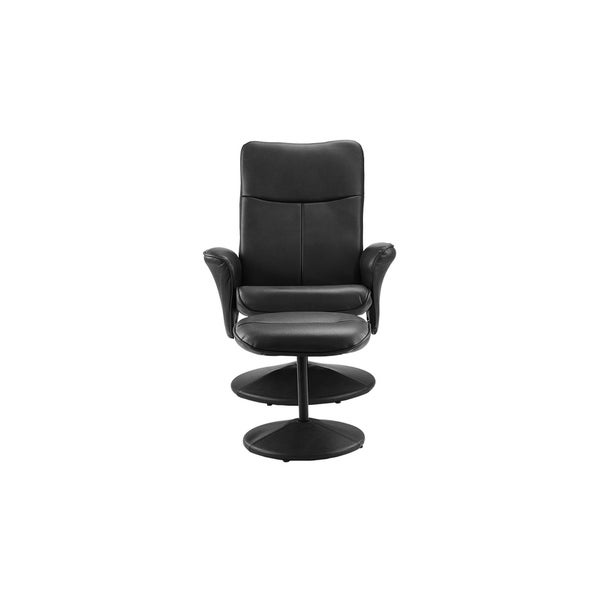 Faux Leather Swivel Recliner Office Living Room Gaming Chair, Footstool