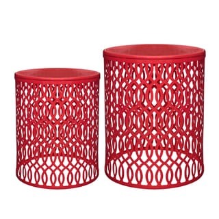 Jeco Murry Red Iron 2-piece End Table Set