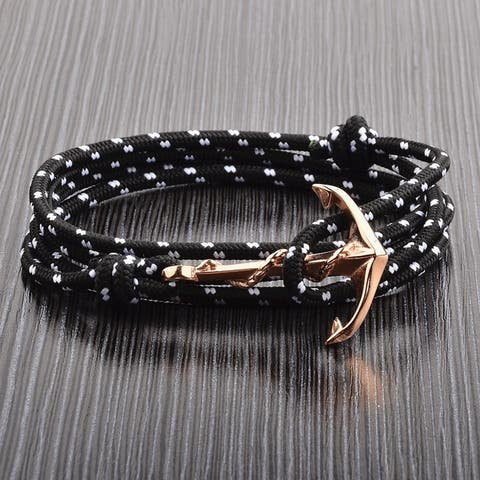 Crucible Stainless Steel Anchor Clasp Adjustable Wrap Bracelet (3mm)
