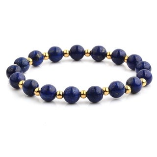 Gold Plated Polished Stainless Steel Lapis Lazuli Stone Beaded Stretch Bracelet (8mm Wide) - Blue