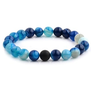 Polished Blue Agate and Matte Onyx Beaded Stretch Bracelet (10.5mm Wide) - Black