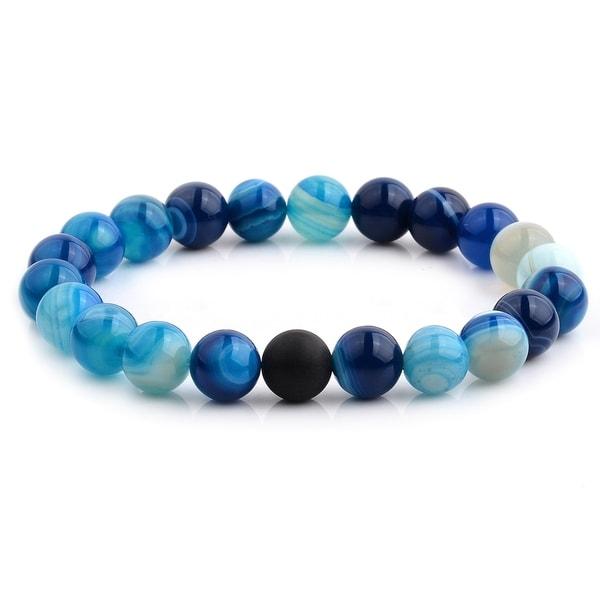 Polished Blue Agate and Matte Onyx Beaded Stretch Bracelet (10.5mm Wide) - Black