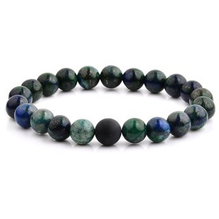 Polished Azurite Stone and Matte Onyx Beaded Stretch Bracelet (10.5mm Wide) - Black/Blue/Green