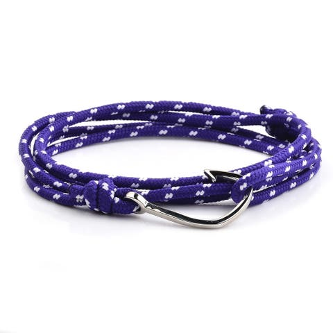 Stainless Steel Hook Clasp Purple Rope Adjustable Wrap Bracelet (3.5mm Wide) - 38 inches