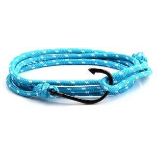 Black IP Polished Stainless Steel Hook Clasp Blue Rope Adjustable Wrap Bracelet (3.5mm Wide)